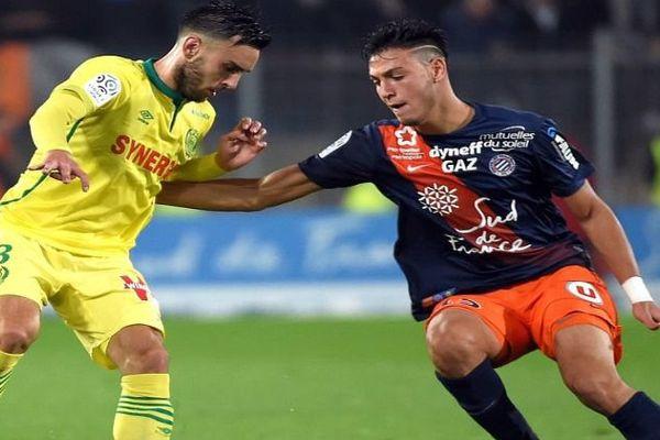 Le défenseur central international algérien Ramy Bensebaini à Montpellier contre un Nantais - 2016