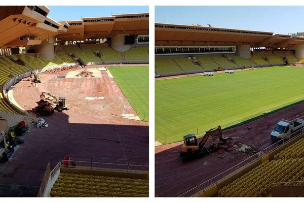 L'ensemble de la piste d'athlétisme est renouvelée. Sans footballeurs pour empiéter sur le chantier !