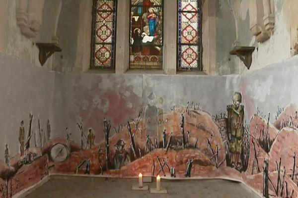 La fresque de Pierre Le Preux dans la chapelle Grisez