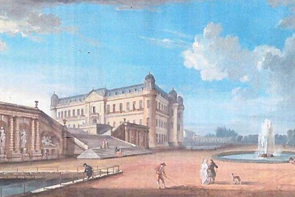 Un dessin de Jean-Baptiste Lallemand représentant le château de Chantilly au 18e siècle.