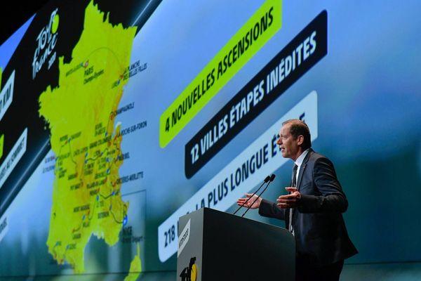 Christian Prudhomme, le directeur du Tour de France, lors de la présentation du parcours 2020, le 15 octobre 2019 à Paris.