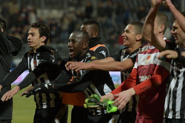 La joie des angevins lors de leur victoire contre le Stade Lavallois