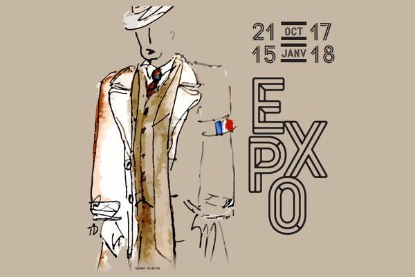 """Affiche de l'exposition """"Les costumes de la série Un Village français"""" au musée de la Résistance de Limoges (dessin Thierry Delettre)"""