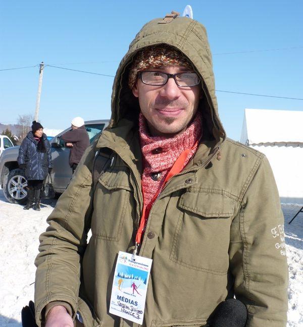 Matthias Julliand, journaliste France 3, lors de la Transjurassienne 2012