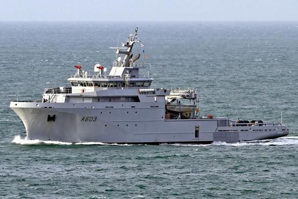 Le BSAH Rhône, construit par les chantiers Piriou de Concarneau, à son arrivée à Brest, au mois d'avril 2018.