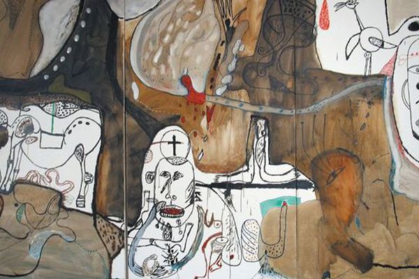 Pique-nique du désespoir, peint par Michel Macréau, en 1964 dans l'appartement de Cérès Franco.