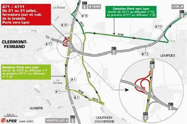 Jusqu'au 31 juillet, des fermetures sont programmées sur l'A75.