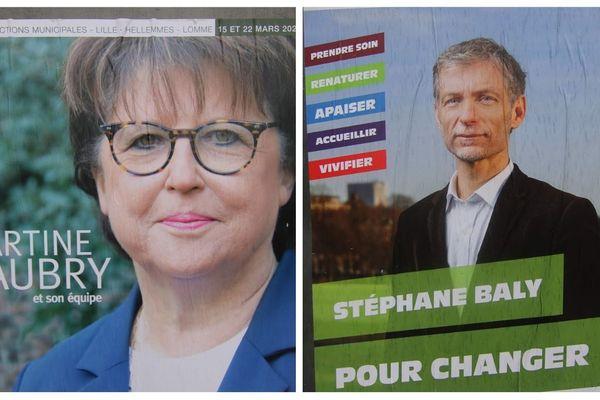 Martine Aubry (PS) et Stéphane Baly (EELV) n'ont pas réussi à s'accorder et s'affronteront au second tour des municipales.