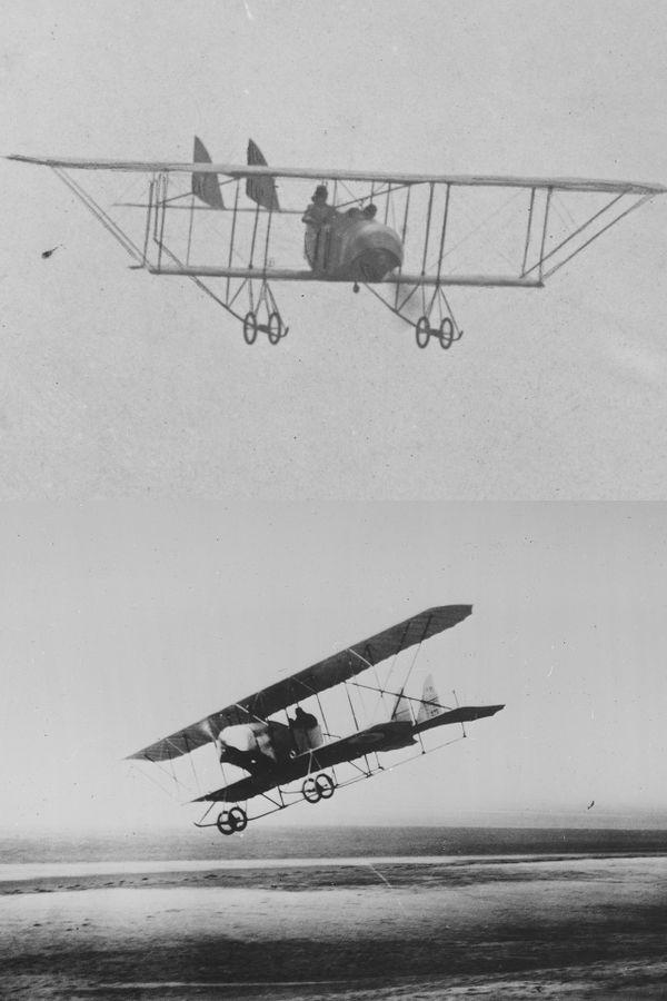 En haut, un Caudron G3, en bas, un Spotwith, deux avions sur lesquels Bessie Coleman a appris à piloter au Crotoy.