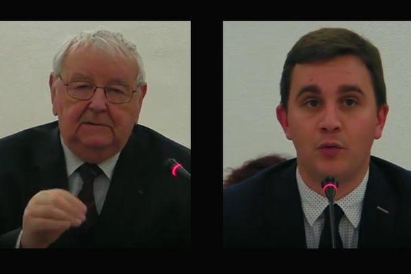 André Ledran et Romain Bail lors du conseil municipal de Ouistreham du 6 mars 2017