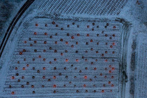 La société Updrone a pu filmer les vignes du Jura et les bougies allumées pour tenter de limiter l'impact du froid.