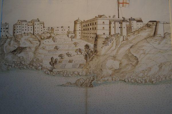 """""""Vue de la citadelle de Bastia"""", Anonyme génois, entre 1600 et 1668."""