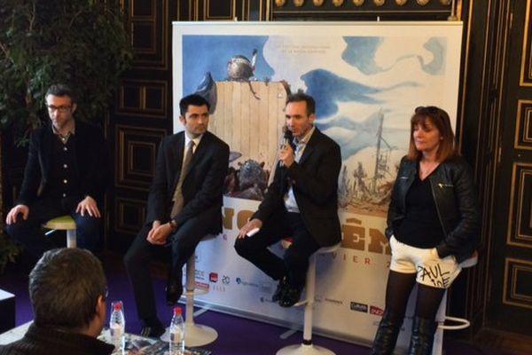Les organisateurs du Festival de la BD et le maire d'Angoulême, Xavier Bonnefont, dressent le bilan de l'édition 2017.