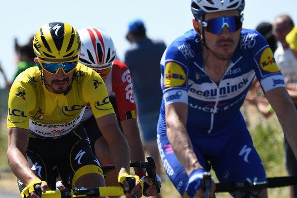 L'Auvergnat Julian Alaphilippe a conservé son maillot jaune lors de la 4e étape du Tour de France et son coéquipier italien Elia Viviani s'est imposé.