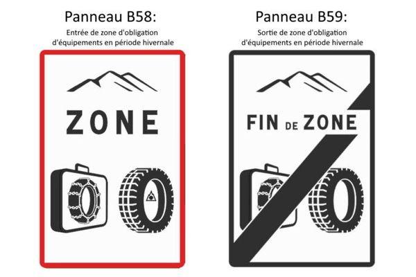 Les nouveaux panneaux de signalisation du code de la route qui indiquent cette règlementation : le panneau B58 indique l'entrée dans une zone concernée, tandis que le second panneau B59 indique lui la sortie de la zone.