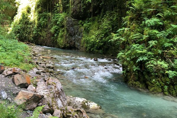 L'eau ruisselle sur les roches dans les gorges de Kakuetta