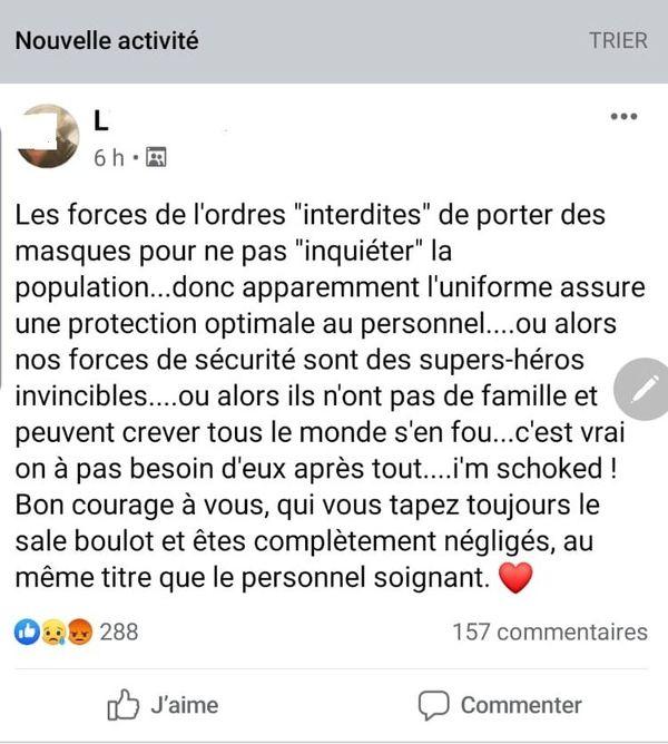Réaction d'une gendarme sur Facebook au non port du masque