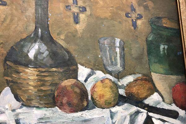 Paul Cézanne , Fiasque verre et poterie vers 1977,