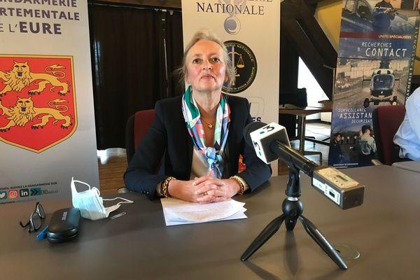 Dominique Puechmaille, procureure de la République d'Evreux, lors de sa conférence de presse ce vendredi 30 avril