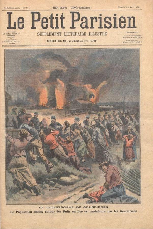 """Le Petit Parisien fait sa """"une"""" sur la catastrophe de Courrières le 25 mars 1906."""