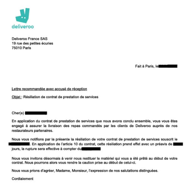 Le mail reçu par les livreurs Deliveroo lors du non-renouvellement de leur contrat.