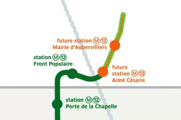 Le prolongement de la ligne 12 jusqu'à Aubervilliers (Seine-Saint-Denis) avec deux stations devait être achevé fin 2017.