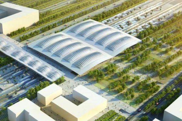 Image virtuelle de la future gare TGV de Montpellier Sud de France - illustration