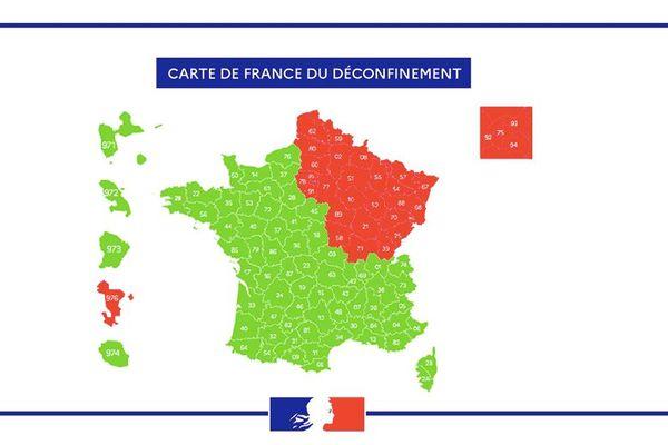 La carte du gouvernement des zones vertes et rouges, selon la circulation du virus, au 14 mai.