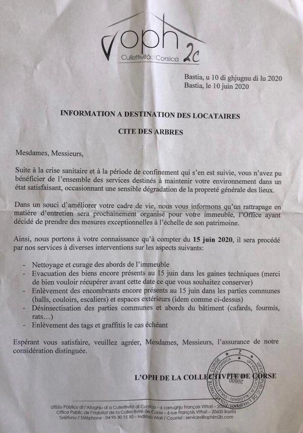 L'un des deux courriers mis en cause par la liste Unione per Bastia.