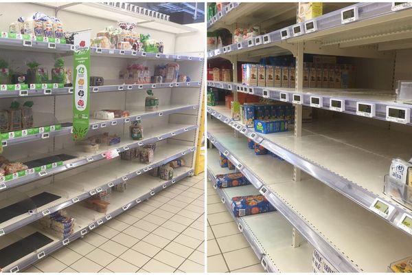 Les rayons à moitié vides d'un supermarché de l'agglomération de Besançon