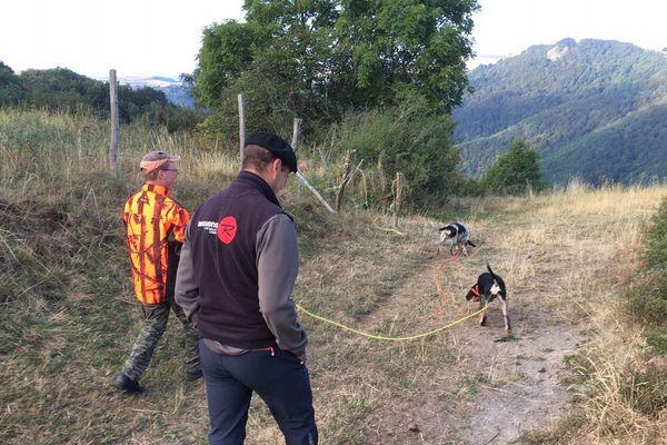 Le 8 septembre à Chassagne (Puy-de-Dôme) les premiers chasseurs de la saison partent en repérage avec leurs chiens, et sans fusil.