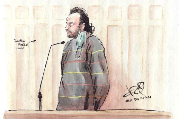 Jonathan Maréchal pendant son procès devant la cour d'assises de Laon.