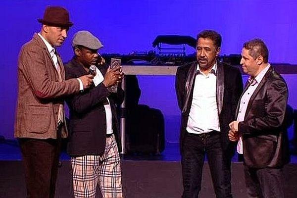 Juan Massenya, Mc Solaar, Khaled et Stéphane Méterfi sur la scène de la Nuit des Trophées 2014