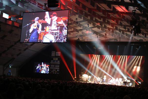 Concert du groupe The Headbangers Nicolas Gardel sextet sous le chapiteau de Jazz in Marciac le 31 juillet 2017.