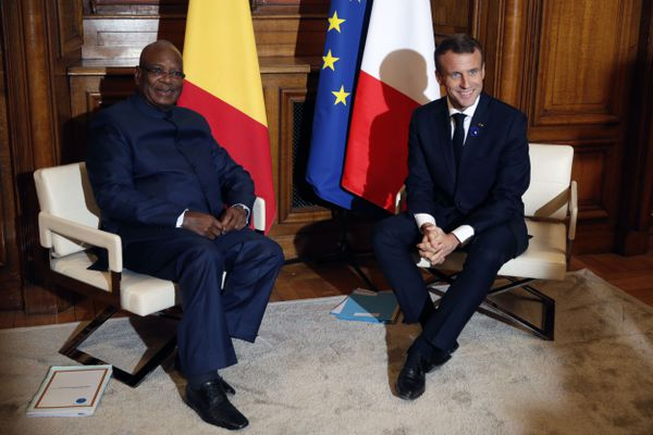 Emmanuel Macron - Ibrahim Boubacar Keita - Hôtel de ville REIMS
