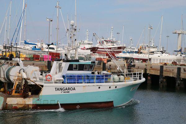 Le chalutier Tangaroa rentre au port de la Turballe. D'autres bateaux ont été mis sur cale, pour entretien.