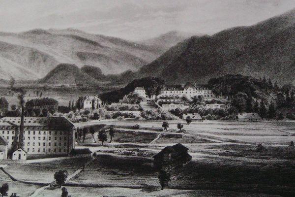Gravure montrant le château, au fond, dominant le parc et ses usines textiles au premier plan au début du 19eme siècle.