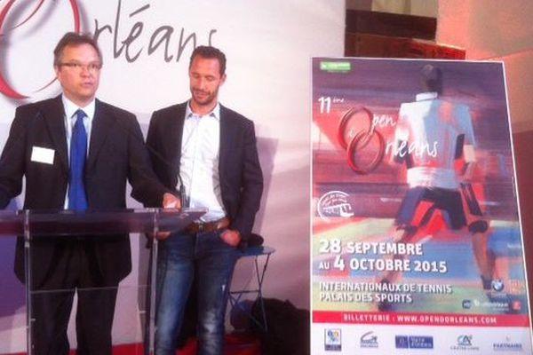 Didier Gérard, directeur de l'Open d'Orléans et Michaël Llodra, ambassadeur du tournoi aux cotés de Sébastien Grosjean