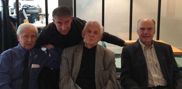 De gauche à droite, Michel Hidalgo, Fabrice Harvey (directeur commercial du Stade de Reims), Dominique Colonna et Lucien Muller dans un restaurant rémois en 2018.