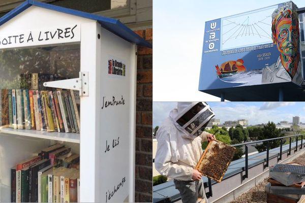 Des livres en accès libre, un cadran solaire sur la façade de la fac de Sciences humaines, des abeilles sur les toits... les habitants de Brest fourmillent d'idées pour leur ville