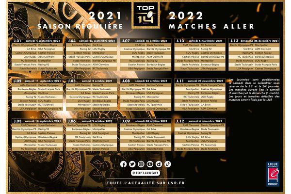 Stade Rochelais : calendrier de la saison 2021/2022 de TOP 14 - matches aller