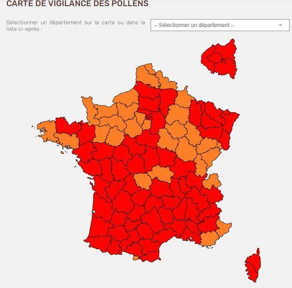 En ce moment, toutes les cartes du RNSA sont au rouge dans la majorité des régions de France.