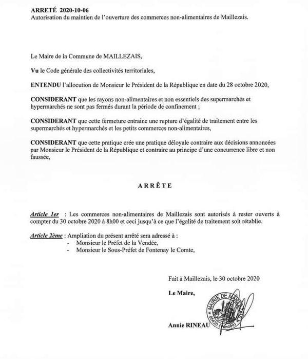 à  Maillezais en Vendée le maire autorise l'ouverture des commerces non alimentaires de centre-ville