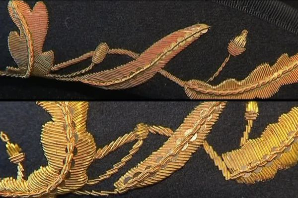 Broderie au fil d'or : l'incontestable savoir-faire des grenadières sur le tricorne du haut !