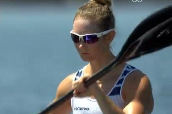 Manon Hostens, concentrée, juste avant de s'élancer pour sa demi-finale en kayak monoplace aux JO de Tokyo