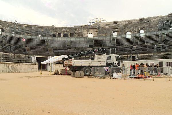 Dans le Gard, les arènes de Nîmes font l'objet d'une nouvelle campagne de fouilles archéologiques. / décembre 2019.