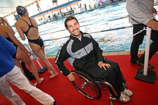 Le nageur grenoblois David Smétanine à la coupe de France de natation en 2008.