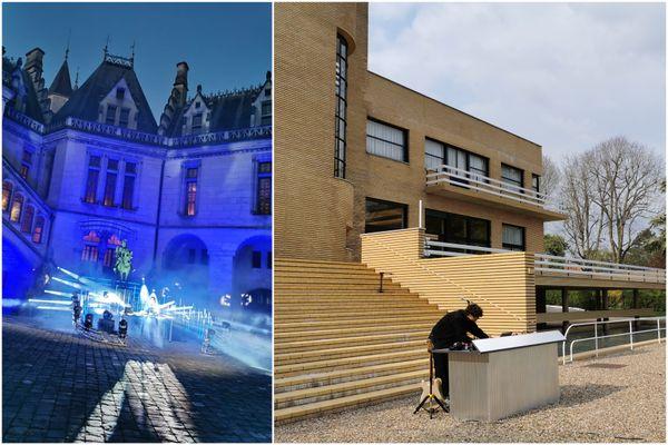 À gauche, les dernières installations avant l'enregistrement du concert de Mat Bastard au château de Pierrefonds. À gauche, Kazy Lambist quelques minutes avant d'enregistrer son set à la Villa Cavrois.