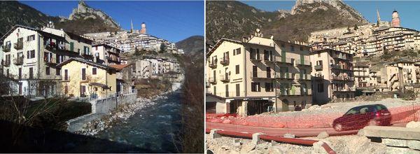 La maison de Rina et Jean-Jacques Sassi (à gauche de l'image, avec les étais métalliques), avant/après la tempête Alex. La maison jaune a disparu, emportée par les flots.
