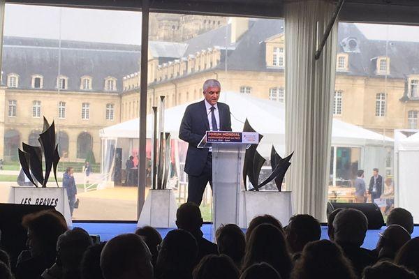 Le président de la Région Normandie, Hervé Morin, ce matin à la cérémonie d'ouverture du Forum. Caen, le 7 juin 2018.